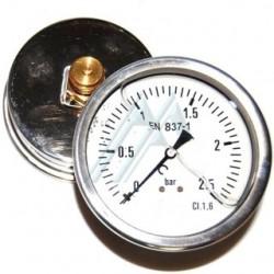Manomètre glycérine 0 - 2.5 bars axial diamètre 63 - manomètre de précision - RS-Pompes.