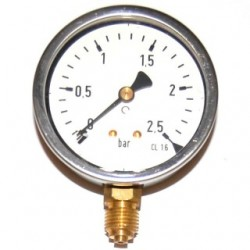 Manomètre glycérine 0 - 2,5 bars radial diamètre 63 - manomètre de précision - RS-Pompes.