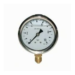 Manomètre glycérine 0 - 10 bars radial diamètre 63 - manomètre de précision - RS-Pompes.