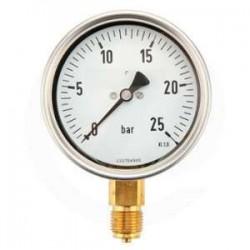 Manomètre glycérine 0 - 25 bars radial diamètre 63 - manomètre de précision - RS-Pompes.