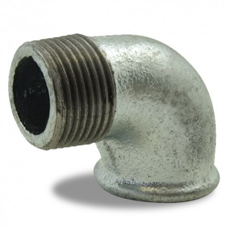 """Coude à 90° égal Ø 1""""1/2 galvanisée - Femelle-mâle - Raccord galvanisé - RS-Pompes."""